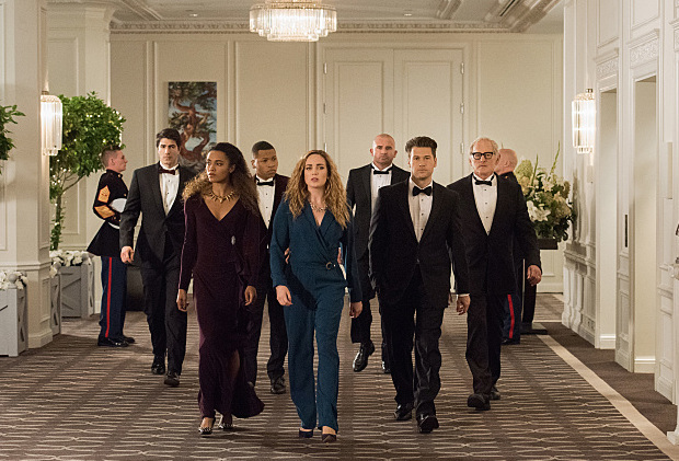 "DC's Legends of Tomorrow --""Compromised""-- Image LGN205b_0298.jpg -- Pictured (L-R): Brandon Routh as Ray Palmer/Atom, Maisie Richardson- Sellers as Amaya Jiwe/Vixen, Franz Drameh as Jefferson ""Jax"" Jackson, Caity Lotz as Sara Lance/White Canary, Dominic Purcell as Mick Rory/Heat Wave, Nick Zano as Nate Heywood and Victor Garber as Professor Martin Stein -- Photo: Dean Buscher/The CW -- © 2016 The CW Network, LLC. All Rights Reserved."
